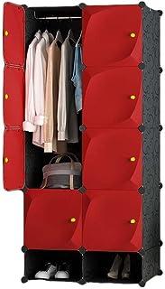 Spécial/Simple Armoire rouge armoire portable armoire rangement rangement armoire armoire avec rack suspendu rangement vêt...