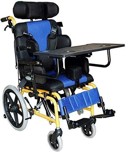 HY-WWK Kinder 's Älterer Rollstuhl, Leichter Kinderauto-Klapptisch Mit Halber Ebene, Mit Anti-Rücken-Kippvorrichtung, Blau,Blau