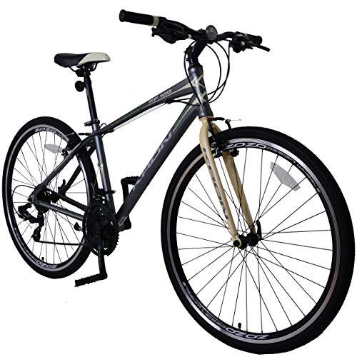 KRON RF-100 Aluminium City Trekkingrad Mountainbike 28 Zoll, 21 Gang Shimano Kettenschaltung mit V-Bremse | 18 Zoll Rahmen | Alu Trekkingfahrrad Erwachsenen- und Jugendfahrrad | Grau & Beige