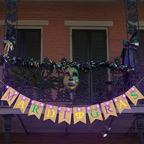 Mardi Gras Burlap Banner Lighted Mardi Gras Letters Banner Carnival Party Decorative Banner and Purple Copper Wire Lights with 8 Flashing Patterns for Mardi Gras Theme Party Decoration