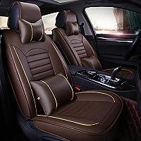 カーシートカバーレザー、通気性と快適な防水滑り止めカーマットカバー、調整可能な可動シートカバー、エアバッグ対応、ほとんどの車に適しています,ブラウン,Luxury