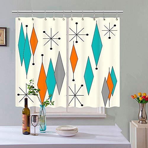 Vintage Style Mid Century Diamond Pattern Kitchen Curtain