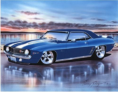 Poster of Blue Chevy 69 Camaro HD Huge Print 54x36 Inches