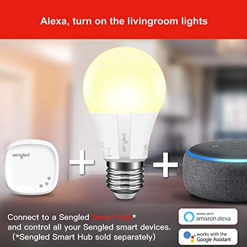 Sengled Smart Light Bulb, Smart Bulbs that work with Alexa, Google Home (Smart Hub Required), Smart Bulb A19 Al   exa Light Bulbs, 800LM Soft White (2700K), A19 Dimmable, 9W (60W Equivalent), 4 Pack