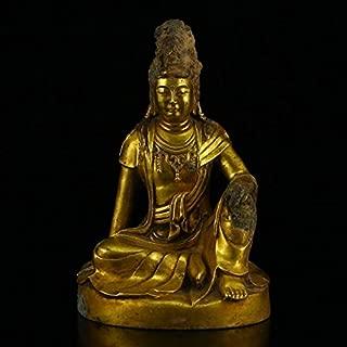 Quan Rong Gallery Vintage Tibetan Gilt Gold Bronze Kwan-yin Statue