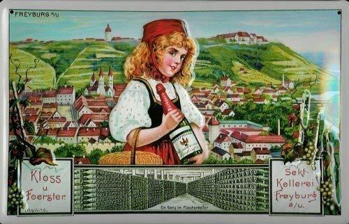 Kloss u. Foerster Sekt - Kellerei Freyburg Blechschild Schild Blech Metall Metal Tin Sign 20 x 30 cm