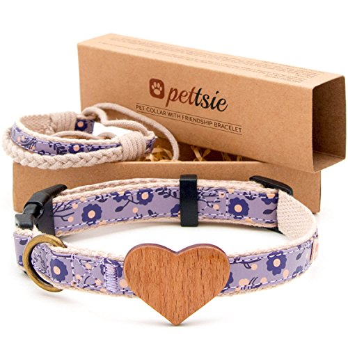 Collar para perros con corazón de madera de haya y brazalete de amistad marca Pettsie