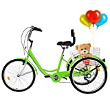 TOUNTLETS Adult Trike, Cruiser Bicycles for Women, Multiple Speeds, 24-Inch 3 Wheel Bike, Adult...