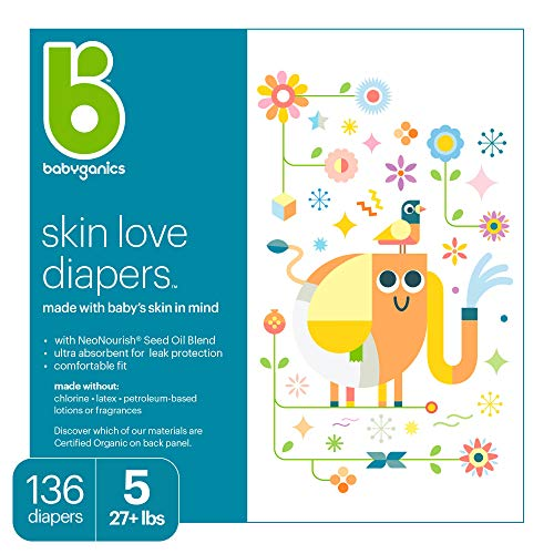 Babyganics Ultra Absorbent Diapers, Size 5, 136 ct