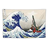 Tapestry,Link,Great Wave Off Kanagawa,Legend of Zelda,Best Children Birthday Present,Cartoon Anime Wall Hanging Art for Bedroom Living Room College Dorm Home Decor,60x40 inches