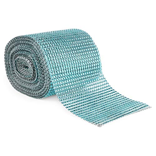 Turquoise Mesh Rhinestone Wrap Ribbon for Wreaths (10 Yards x 4.75 Inches)