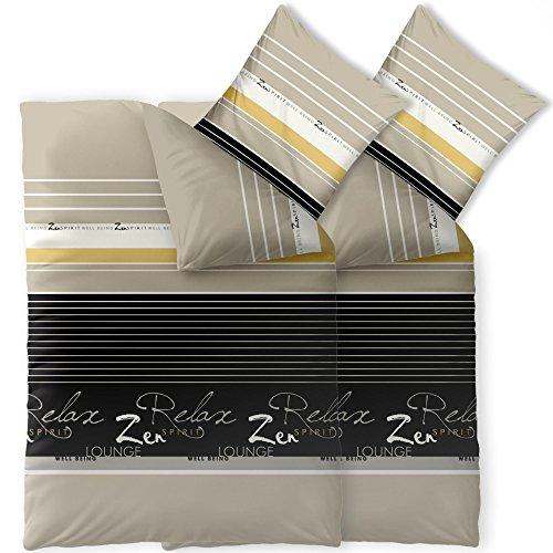 CelinaTex Fashion Bettwäsche 155x220 cm 4teilig Baumwolle Lian Streifen Wörter Beige Schwarz Weiß