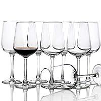 ワイングラスパーティー8個セット 素晴らしいクリアレッドホワイトグラスウェア 15oz
