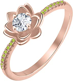 Lotus Flower Round White Diamond & Peridot 14K Gold Plated Women's Engagement Band Ring Sterling Silver