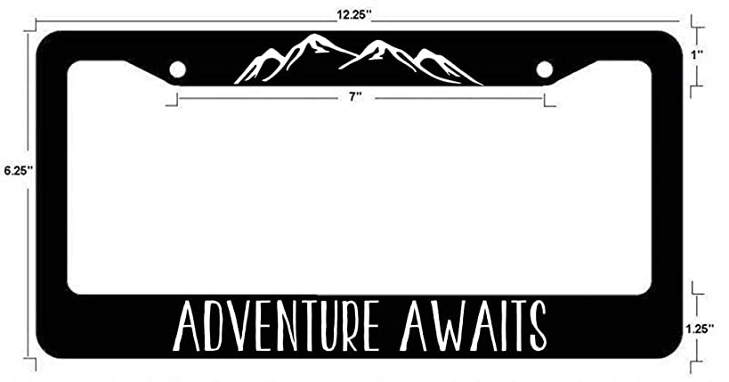 Yohoba Adventure Awaits License Plate Frame Hiking Mountain Biking