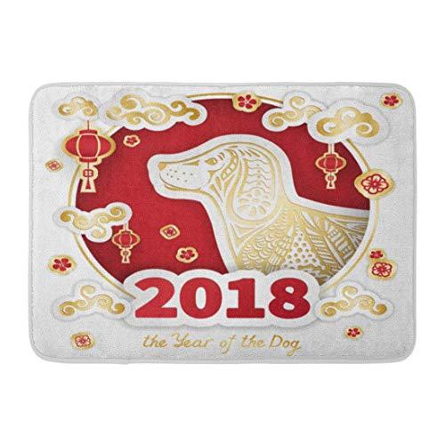 NALLK-7A Felpudos Alfombras de baño Alfombrilla para la Puerta El Perro Rojo Feliz es el símbolo del Año Nuevo Chino Corte y Doodle para calendarios China 15.8'x23.6