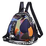 N-B Women's Leather Bags, Casual Fashion Backpacks, Oxford Women's Backpacks, with External Earphone Holes, Waterproof, Anti-Wrinkle, and Wear-Resistant