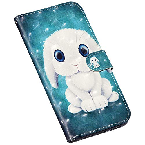Jinghuash Kompatibel mit Samsung Galaxy A21S Hülle Lederhülle Klapphülle Mit Kartenhalter Brieftasche Leder 3D Gemalt Muster Handyhülle Folio Flip Schutzhülle Hase