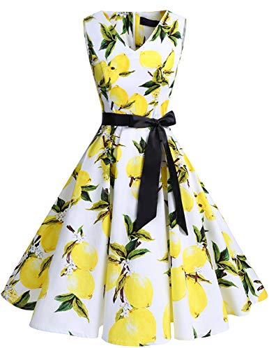 bridesmay 1950er V-Ausschnitt Kleid Vintage Cocktailkleid Rockabilly Retro Schwingen Kleid Faltenrock White Lemon 3XL