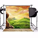 AOFOTO 8x8ft Dreamy Pastoral Scenery Photography Girl Backgrounds Cartoon Spring Hillside Meadow Sheep Backdrop with Wood Floor Rosy Clouds Grass Video Baby Kid Portrait Photo Shoot Studio Props Vinyl