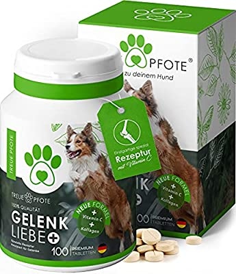 TreuePfote *NEU* Gelenktabletten für Hunde I Gelenktabletten Hund mit Grünlippmuschel, Teufelskralle, Kollagen und MSM I 100 Tabletten = 6 Monate I Perfekter Geschmack I
