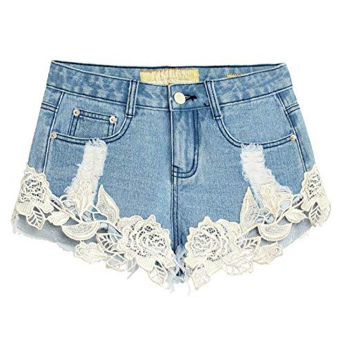 Corumly Pantalones Cortos de Mezclilla para Mujer Diseño de Encaje Europeo y Americano Pantalones Cortos de Mezclilla Sexy Pantalones Cortos de Mezclilla Rasgados con Personalidad 34