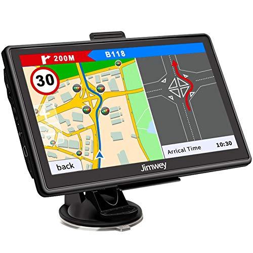 Jimwey Navigationsgerät für Auto Navigation LKW Navi 7 Zoll Navigationssystem Lebenslang Kostenloses Kartenupdate, mit POI Blitzerwarnung Sprachführung Fahrspurassistent UK Europa Karten