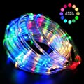 LED Rope Lights Battery Operated String Lights Fairy Lights 40Ft 120 LEDs 8 Modes Outdoor Waterproof Dimmable/Timer with Remote for Christmas Garden Party Decoration