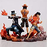 SHENAO Three Brothers One Piece Anime Figure, Monkey D Sabo Luffy Figure, Handmade Anime Figurine Collectibles Craft Gift for Kids Boys Girls
