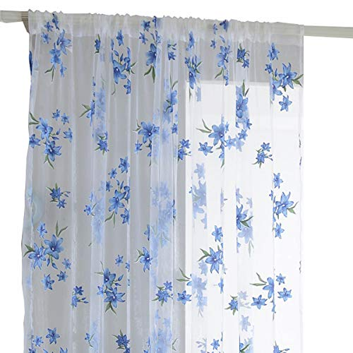 Transparent Window Treatment Draperies, Elegant Sheer Curtain Panel, Fresh Blue Floral Print Window Room Door Voile Tulle Curtain Drapes for Home Decoration , 1 Panel, Rod Pocket, 78 inches Long