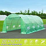 Mellcom 20' x 10' x 7' Greenhouse Large Gardening Plant Hot House Portable Walking in Tunnel Tent,Green