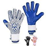 Keeperking Guantes de portero para adultos, guantes de fútbol para hombre, costuras interiores, agarre profesional, 4 mm, ajuste fijo, unisex, Jonior (6, azul y negro)