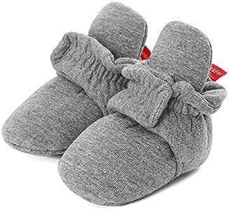 LACOFIA Botas Antideslizantes de Suela Blanda para bebé niño o niña Zapatos de calcetín de bebé Invierno Gris Oscuro 6-12 Meses