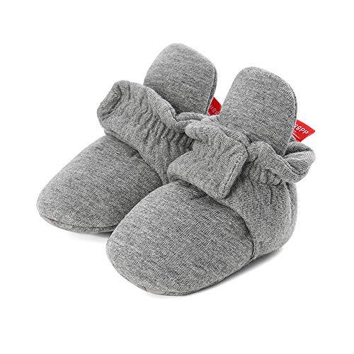 LACOFIA Baby Jungen Mädchen Winter Krabbelschuhe Baby rutschfest Weiche Sohle Slipper Stiefel Dunkelgrau 0-6 Monate