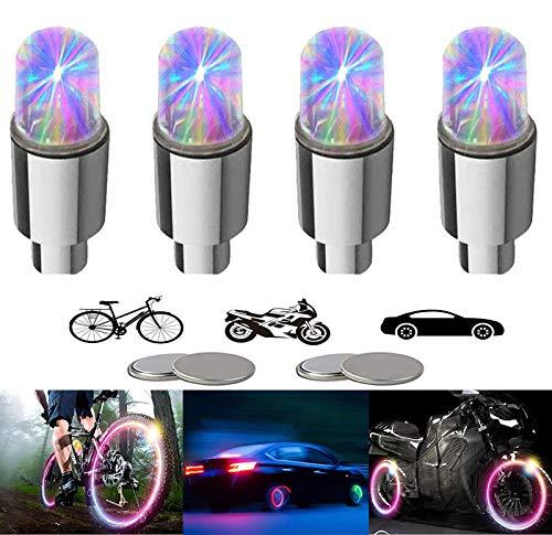 Yinch 4 Stück LED Ventilkappen Fahrrad Reifen Beleuchtung Speichenlicht Fahrrad Ventilschaftkappe Licht Autozubehör für Fahrrad Auto Motorrad oder LKW mit 10 Zusätzlichen Batterien(Bunt)