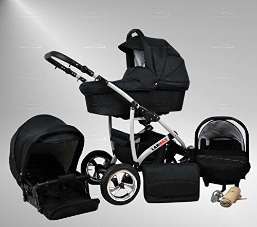 True Love larmax cochecito Juego completo (Auto asiento & adaptador, protector de lluvia, mosquitera, ruedas giratorias) 44 Cosmic Black & Cosmic Black