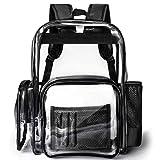 Clear Backpack, F-color Large Heavy Duty Sturdy Waterproof PVC Transparent Clear Bag for Men, Women, Boys, Girls, Stadium, School, Travel, Black