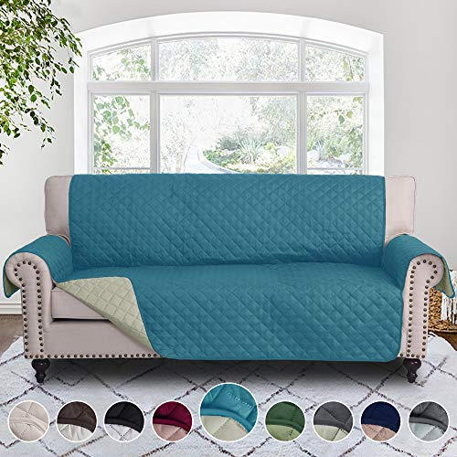RHF Reversible Sofa Cover, Couch Covers for 3 Cushion Couch, Couch Covers for Sofa, Couch Cover, Sofa Covers for Living Room,Couch Covers for Dogs, Sofa Slipcover, Couch Protector(Sofa:Sea foam/Cream)