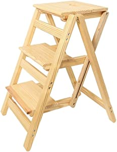 Wtbew-u Folding Steps  Multi-purpose Ladders Wooden Ladder Stool Stairway Chair With Steps