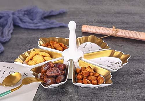 Zellerfeld Trendmax Knabber Schale Set 6 Fächer Cerezlik Servierschale Knabberschale aus Porzellan mit Marmor Design für Süßigkeiten, Dips, Nüsse, Chips