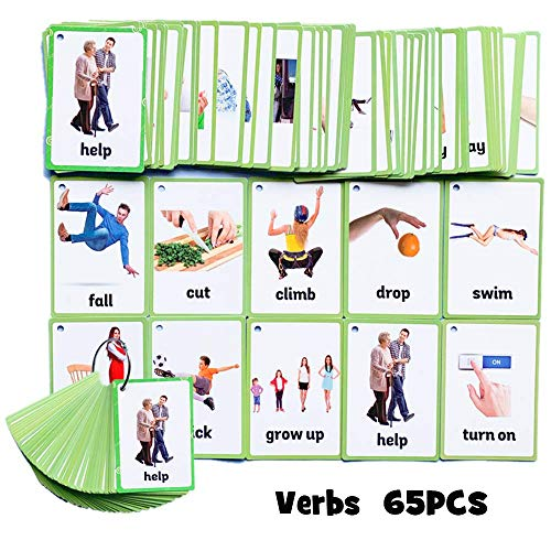 SANCENT 65 PCS Verbs Cards- Learning Picture & Word Card Flashcards(English Word Learning Card & Pocket Size Flash Card for Children And Preschool),4.33x3.15in
