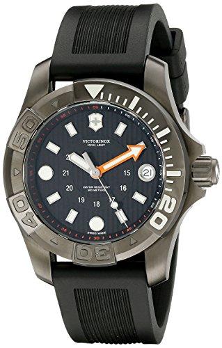 Victorinox Swiss Army Dive Black Dial SS Rubber Quartz Men's Watch 241555