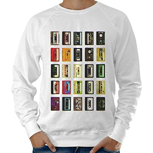 Sudadera ligera Hombre Cassette musicales Multicolor–blanco Bianco Large