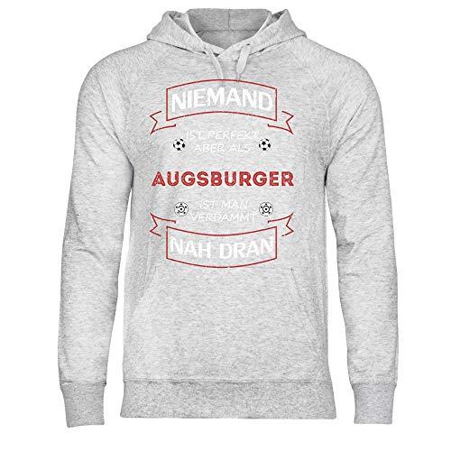 wowshirt Herren Hoodie Fußball Trikot Augsburger Augsburg, Größe:S, Farbe:Heather Grey