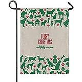 jiaxingdalin Retro Dog Bone Claw Paw Furry Christmas Arpillera Garden FlagWelcome Winter Christmas Yard Flags, Rústico Banner Exterior para Decoraciones de Navidad
