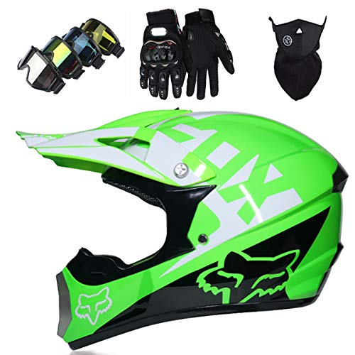KIVEM Kids Motocross Helmet, Youth Adult Electric Dirt Bike Full Face Motorbike Helmet Set for Boys Girls Quad Bikes BMX Bicycle MTB ATV Offroad DH Helmet - DOT - with FOX Design - Green,L