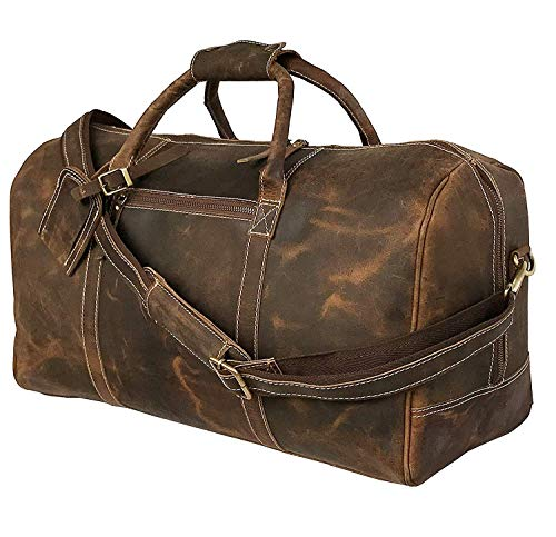 25 Inch Large Leather Duffel Travel Duffle Gym Sports Overnight Weekender Bag (vintage brown)