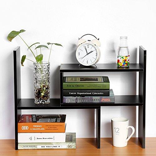 Wood Desktop Bookshelf, Adjustable Counter Top Bookcase Multi-Functional Desk Storage Rack Organizer Display Shelf for Home School Office Supplies
