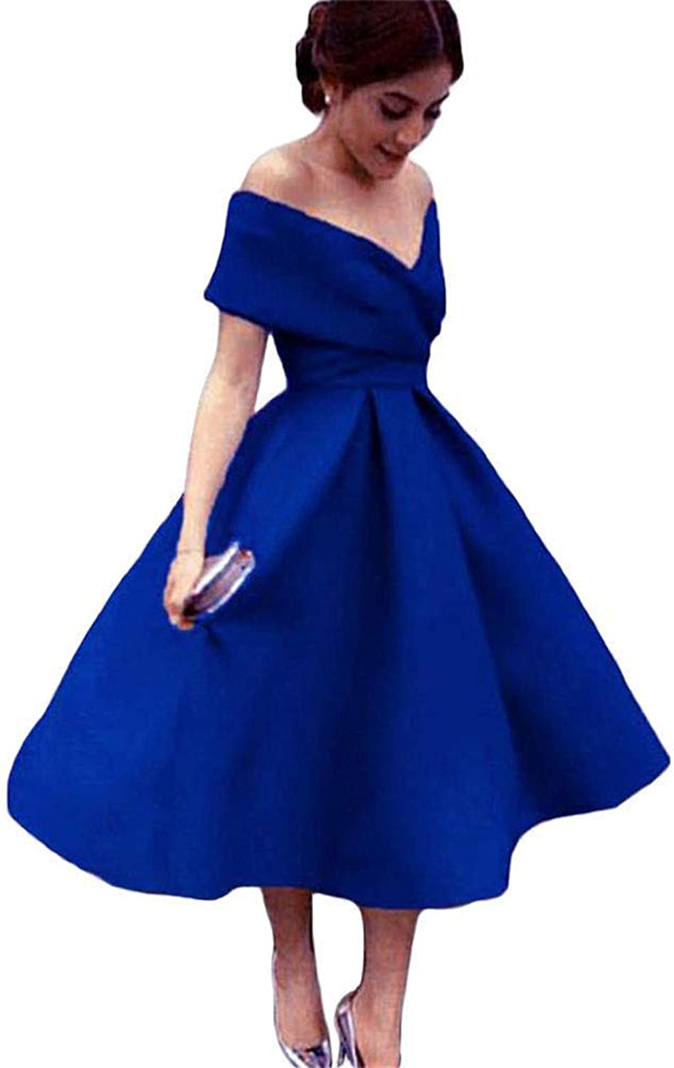 Modeldress Womens OffShoulder Tea Length Prom Dresses Short Party Evening Gowns