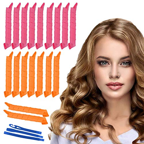"""18PACK Magic Hair Curlers Spiral Curls Styling Kit, 18 No Heat Hair Curlers and 1 Styling Hooks, for extra long hair up to 22"""" (55 cm)"""